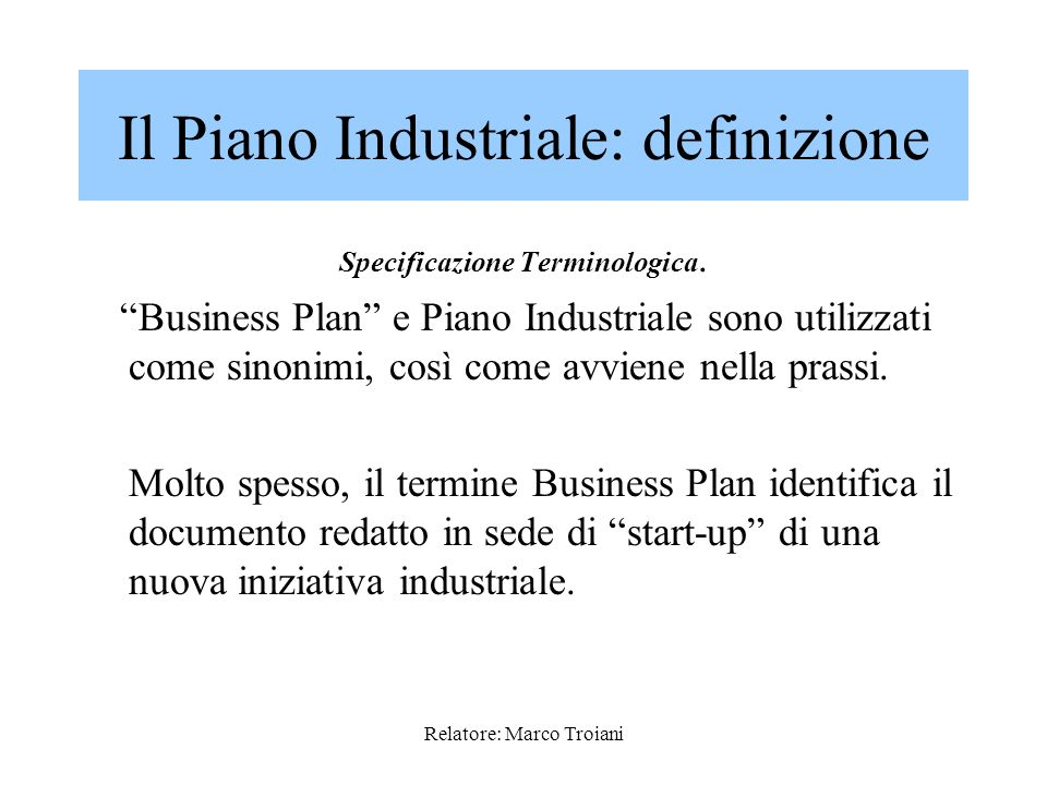 Il Piano Industriale: definizione