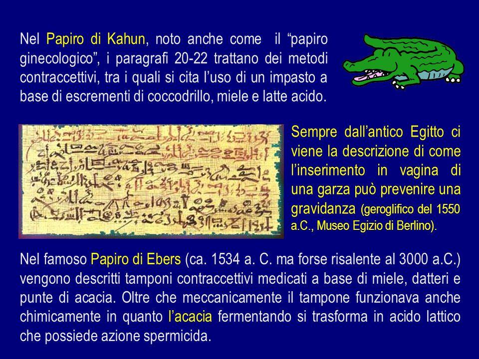 Nel Papiro di Kahun, noto anche come il papiro ginecologico , i paragrafi 20-22 trattano dei metodi contraccettivi, tra i quali si cita l'uso di un impasto a base di escrementi di coccodrillo, miele e latte acido.