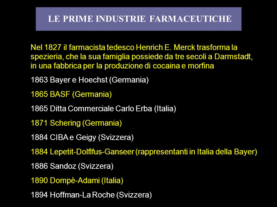 LE PRIME INDUSTRIE FARMACEUTICHE