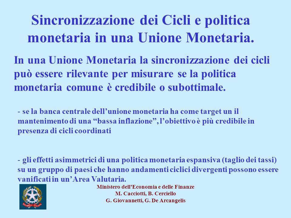 Sincronizzazione dei Cicli e politica monetaria in una Unione Monetaria.