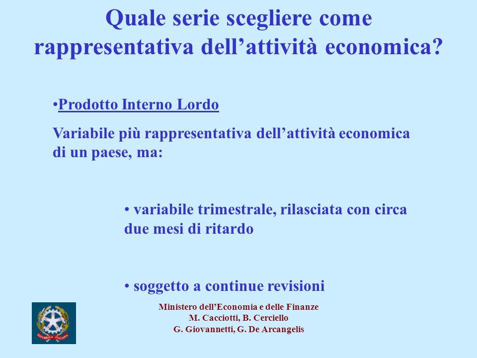 Quale serie scegliere come rappresentativa dell'attività economica