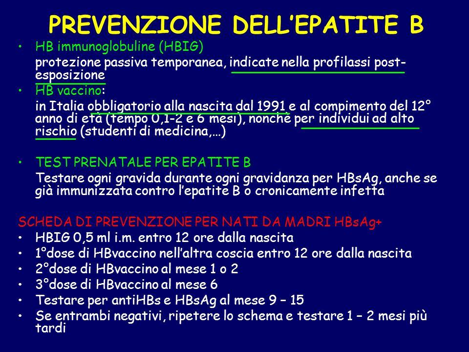 PREVENZIONE DELL'EPATITE B