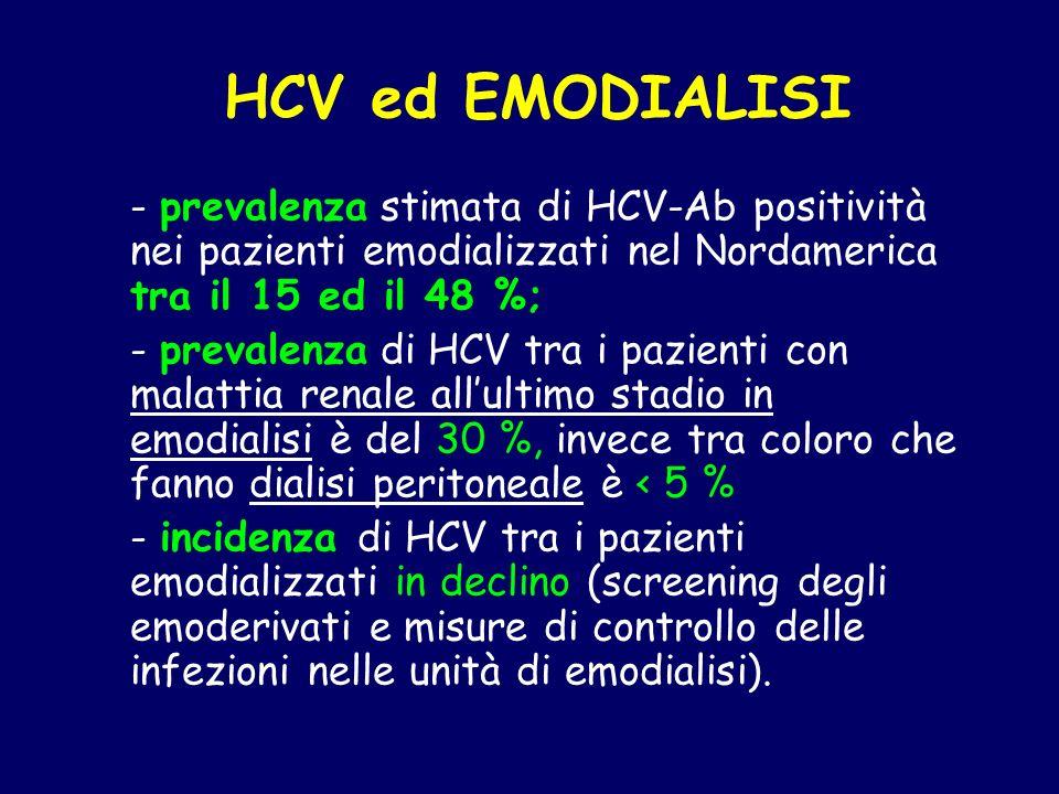 HCV ed EMODIALISI - prevalenza stimata di HCV-Ab positività nei pazienti emodializzati nel Nordamerica tra il 15 ed il 48 %;