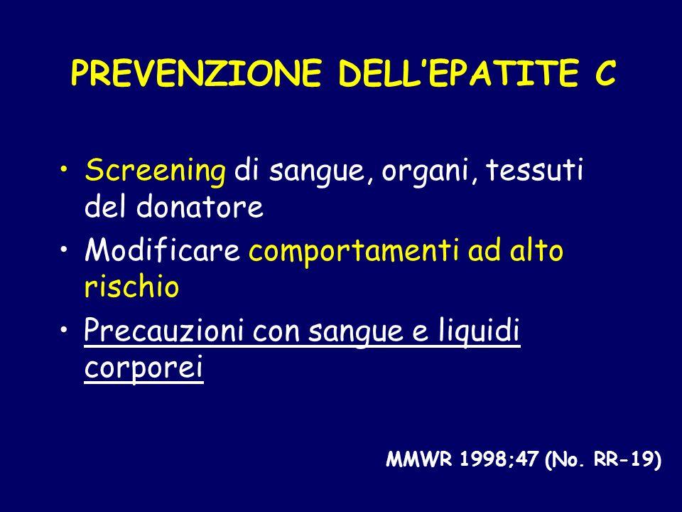 PREVENZIONE DELL'EPATITE C