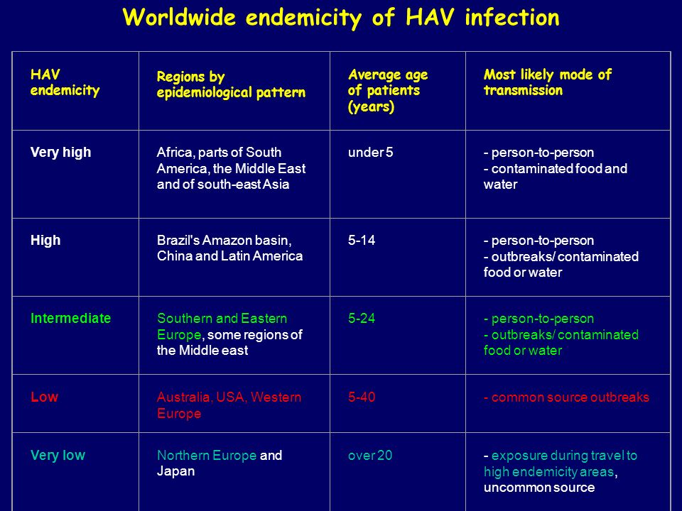 Worldwide endemicity of HAV infection