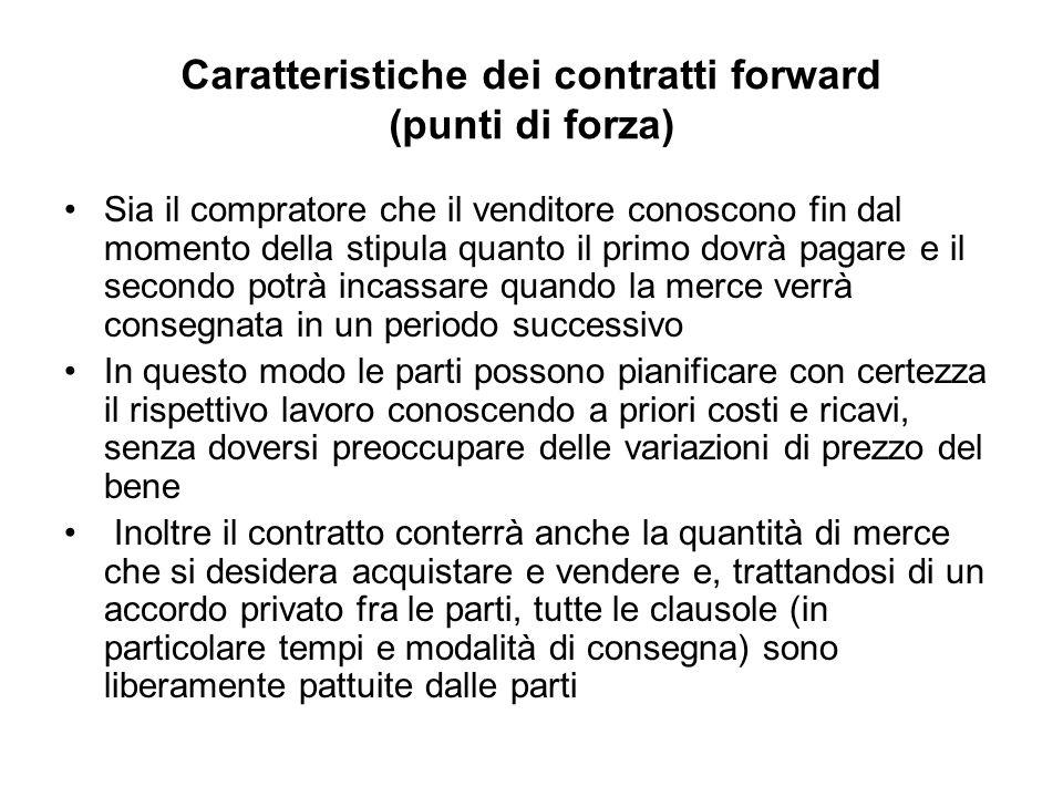 Caratteristiche dei contratti forward (punti di forza)