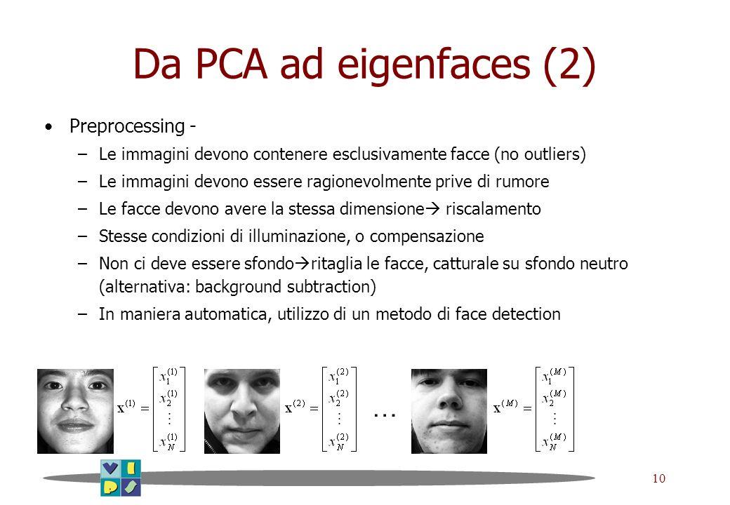 Da PCA ad eigenfaces (2) … Preprocessing -