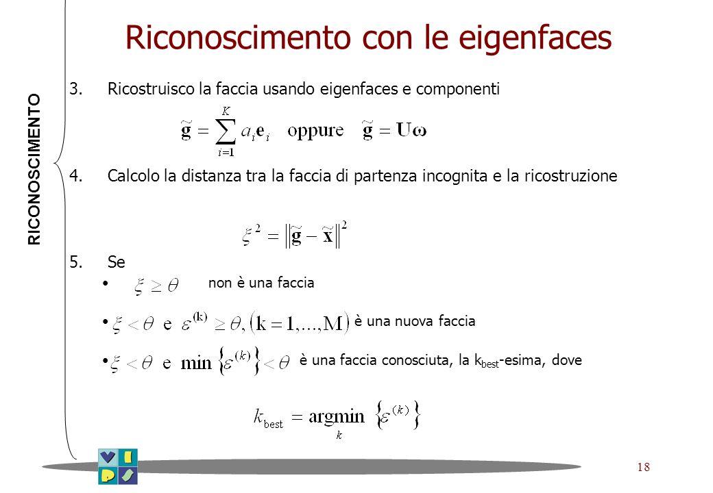 Riconoscimento con le eigenfaces
