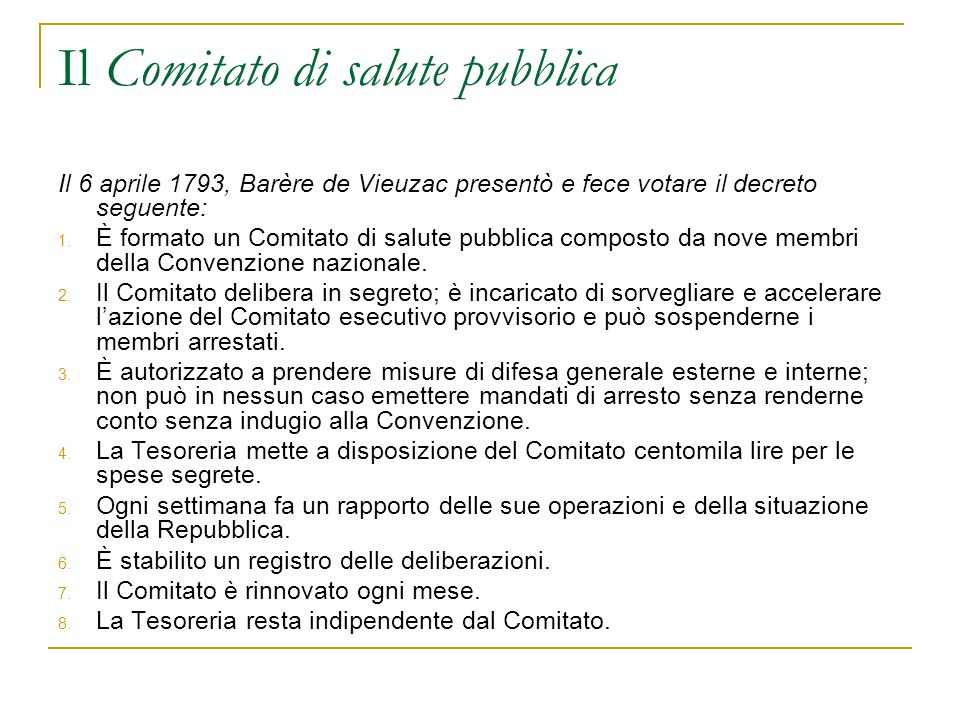 Il Comitato di salute pubblica