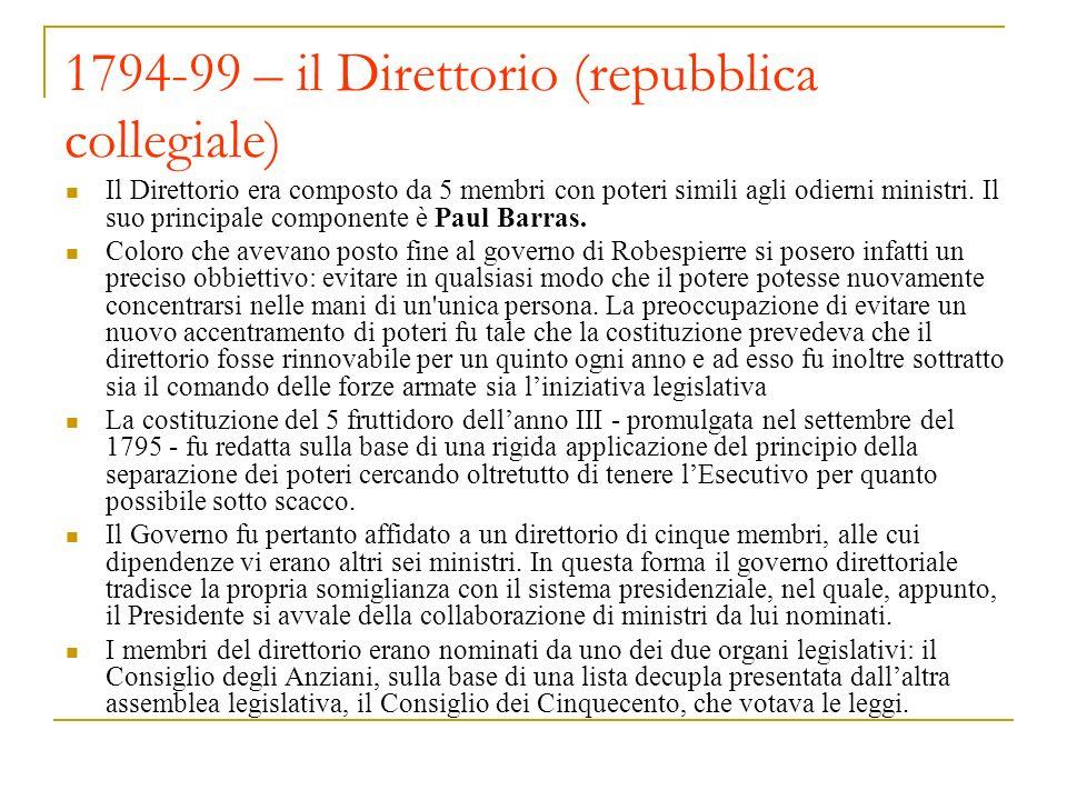 1794-99 – il Direttorio (repubblica collegiale)