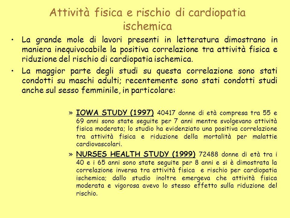Attività fisica e rischio di cardiopatia ischemica