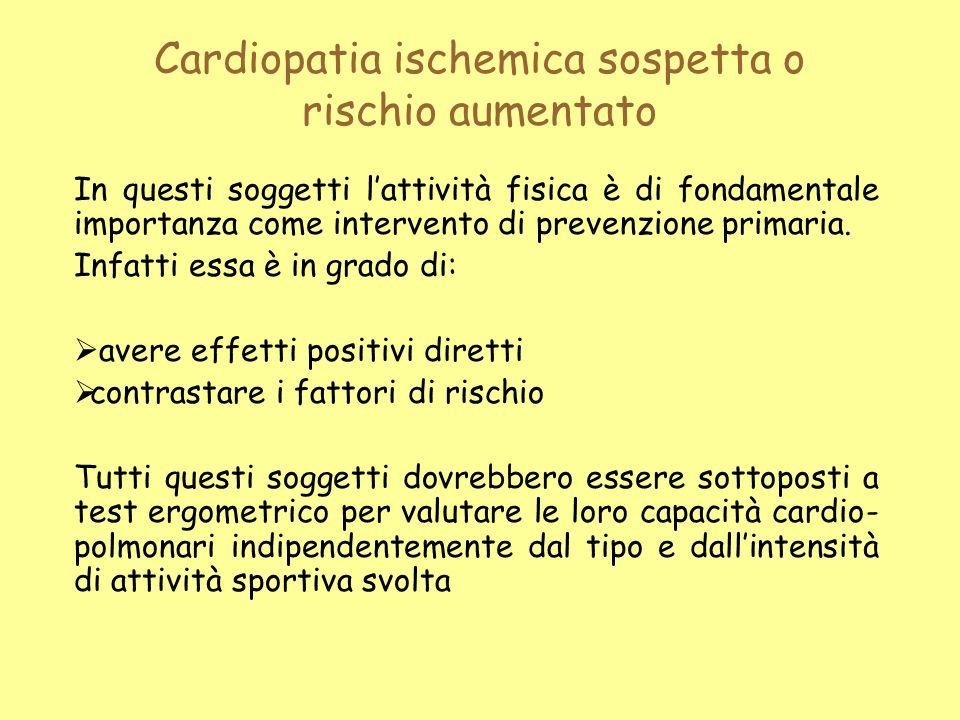Cardiopatia ischemica sospetta o rischio aumentato