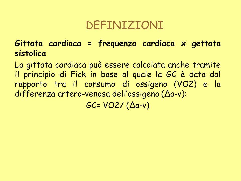 DEFINIZIONI Gittata cardiaca = frequenza cardiaca x gettata sistolica