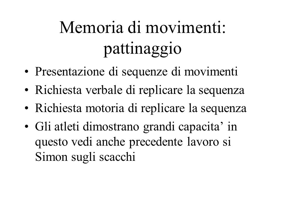 Memoria di movimenti: pattinaggio