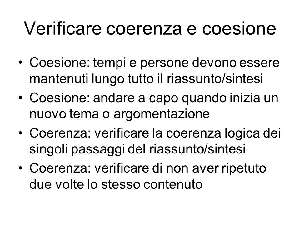 Verificare coerenza e coesione
