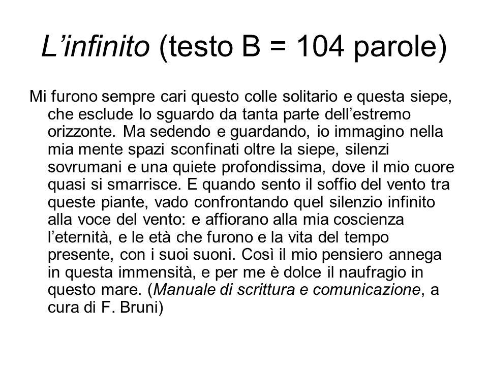 L'infinito (testo B = 104 parole)