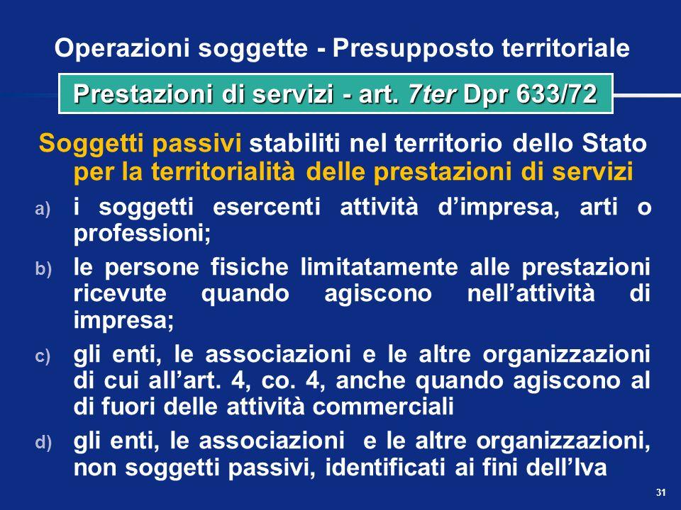 Operazioni soggette - Presupposto territoriale