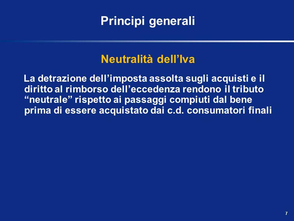 Principi generali Neutralità dell'Iva
