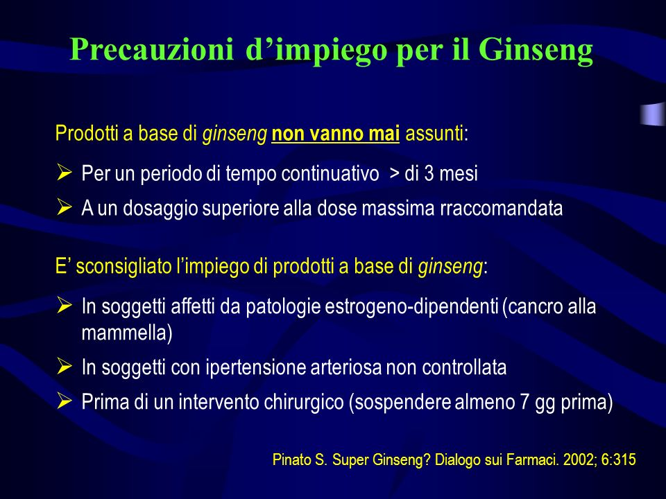 Precauzioni d'impiego per il Ginseng