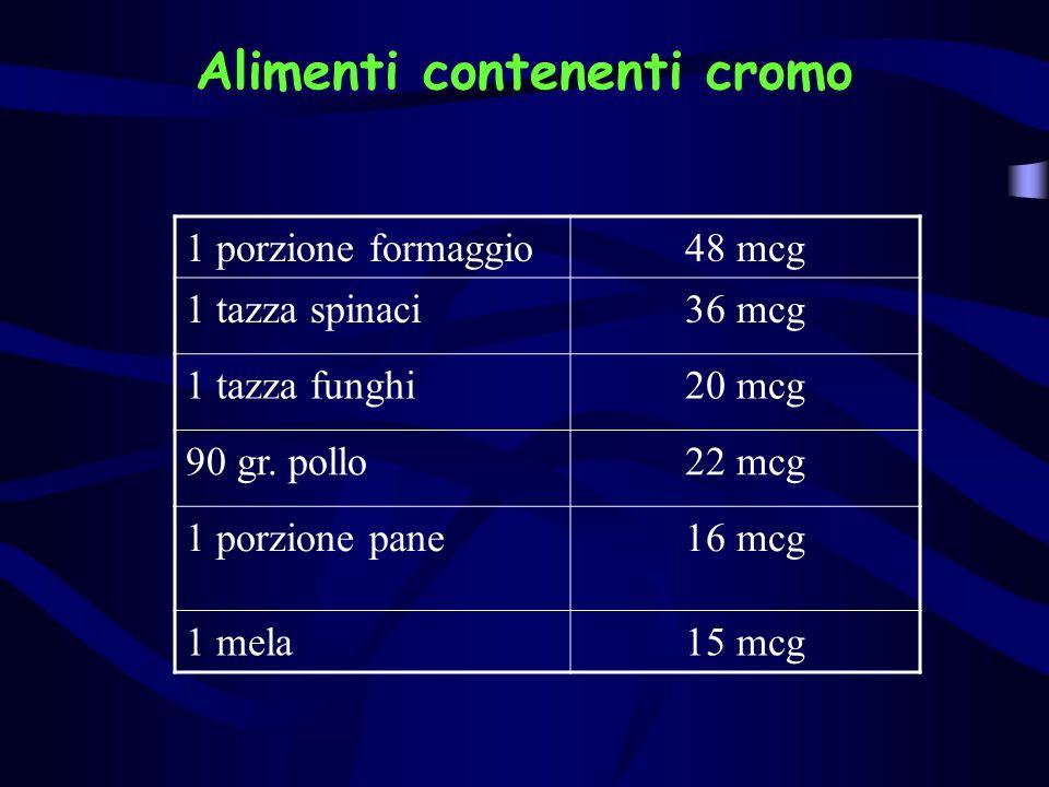 Alimenti contenenti cromo