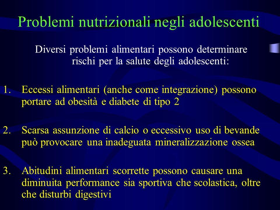 Problemi nutrizionali negli adolescenti