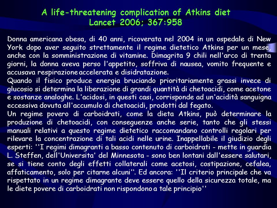 A life-threatening complication of Atkins diet