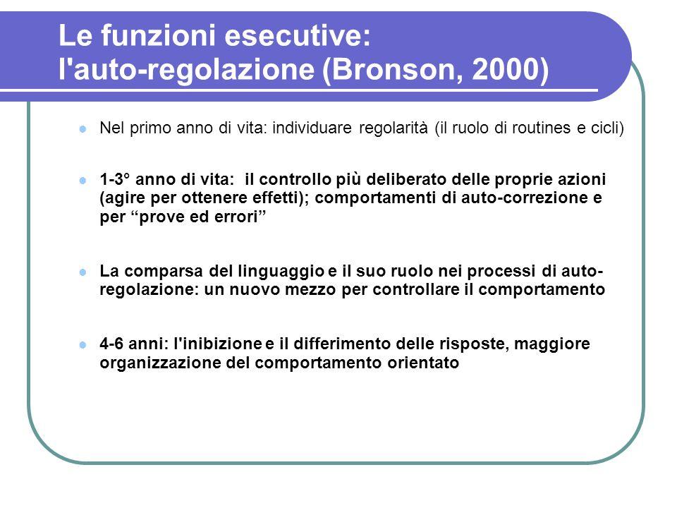 Le funzioni esecutive: l auto-regolazione (Bronson, 2000)