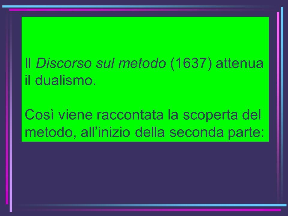 Il Discorso sul metodo (1637) attenua il dualismo