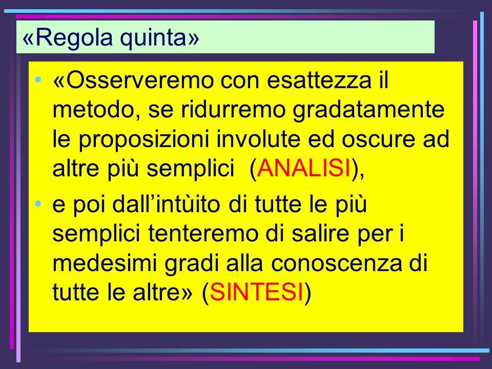 «Regola quinta»«Osserveremo con esattezza il metodo, se ridurremo gradatamente le proposizioni involute ed oscure ad altre più semplici (ANALISI),