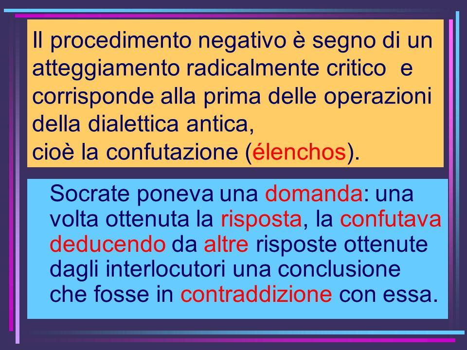 Il procedimento negativo è segno di un atteggiamento radicalmente critico e corrisponde alla prima delle operazioni della dialettica antica, cioè la confutazione (élenchos).