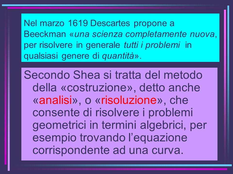 Nel marzo 1619 Descartes propone a Beeckman «una scienza completamente nuova, per risolvere in generale tutti i problemi in qualsiasi genere di quantità».