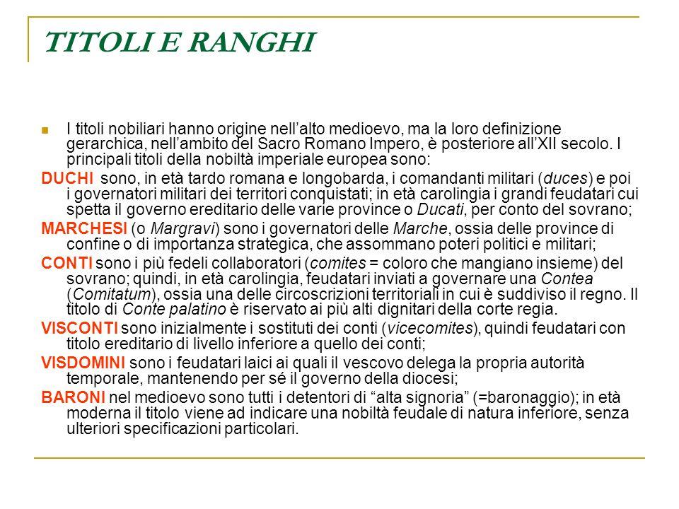TITOLI E RANGHI