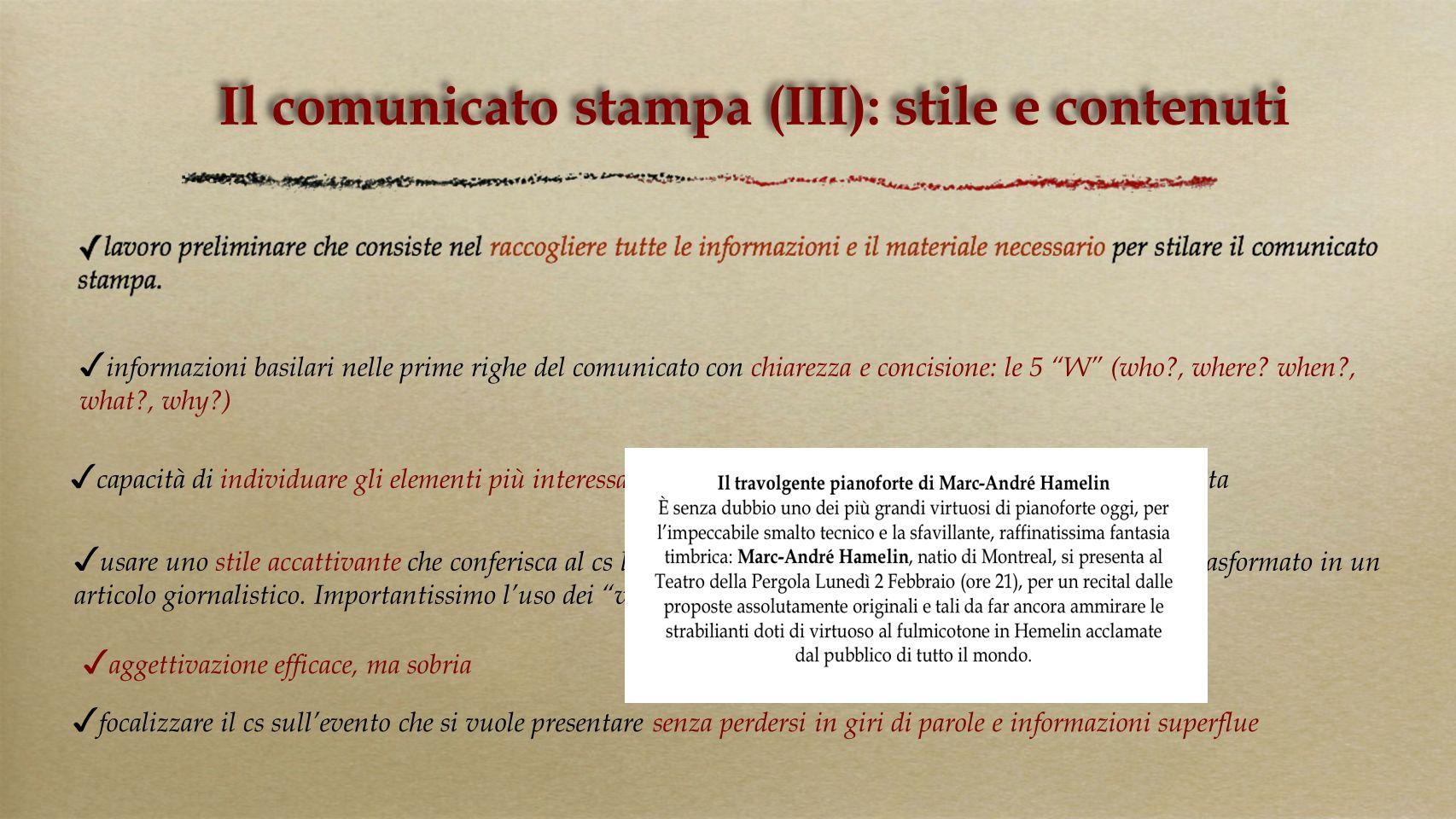 Il comunicato stampa (III): stile e contenuti