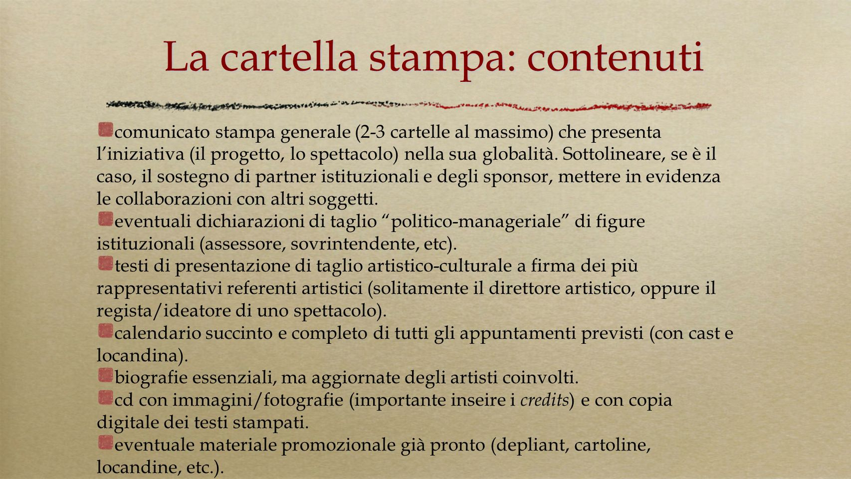 La cartella stampa: contenuti