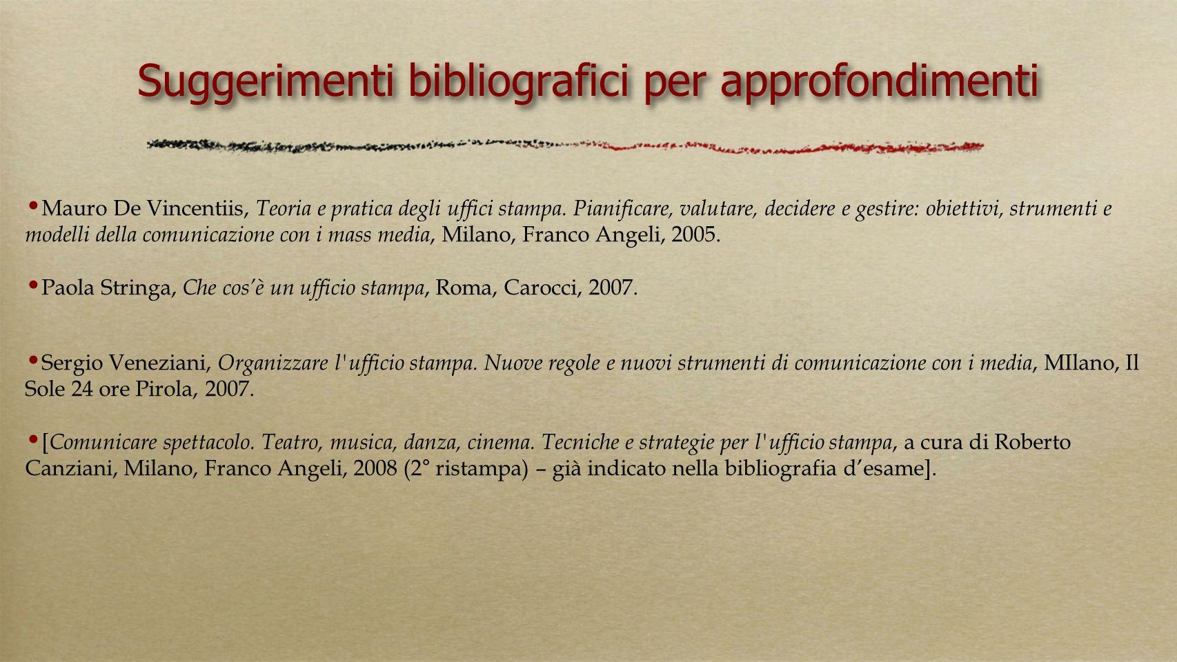 Suggerimenti bibliografici per approfondimenti