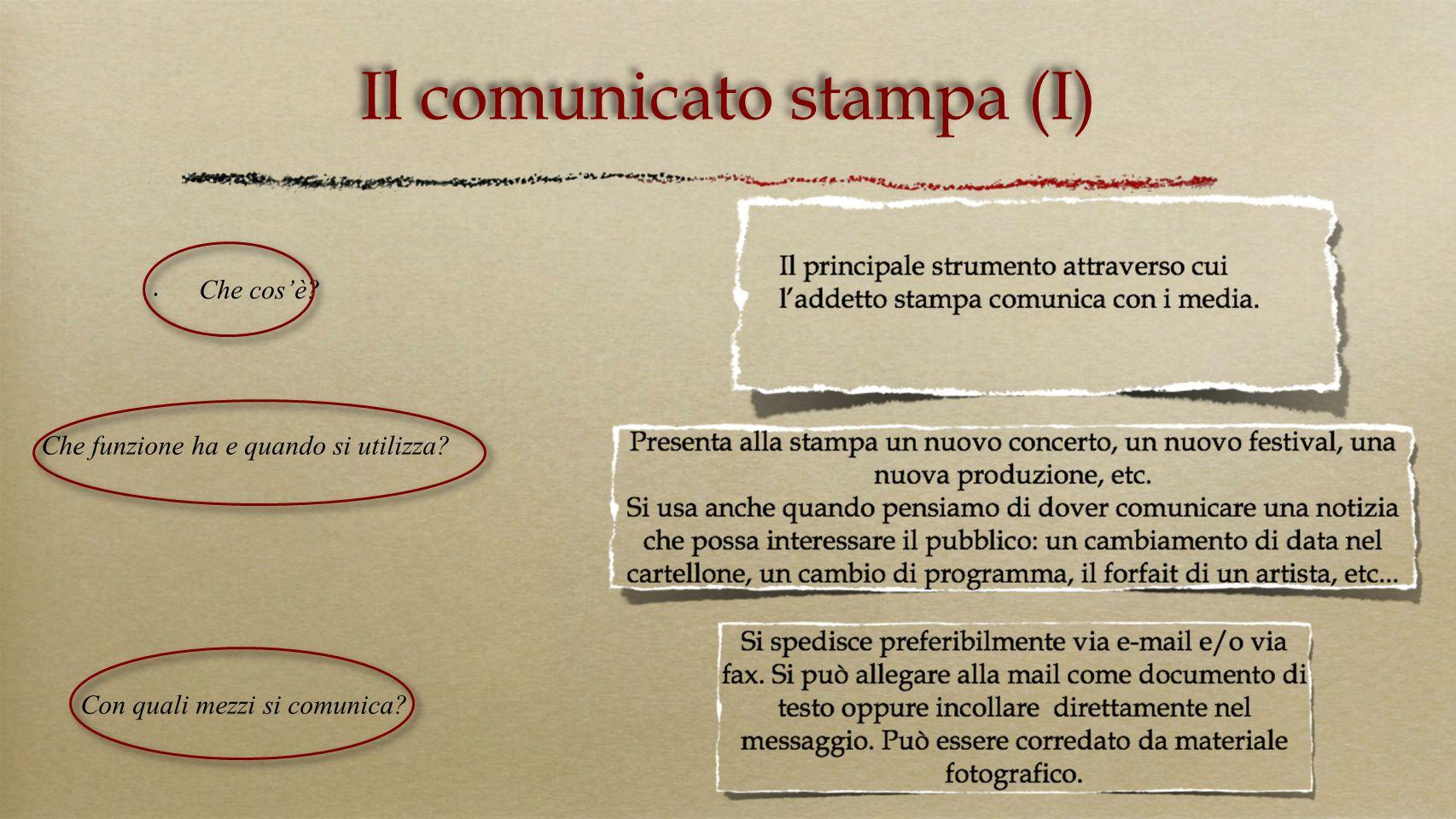 Il comunicato stampa (I)