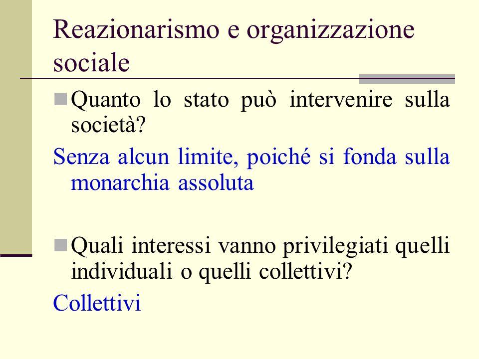 Reazionarismo e organizzazione sociale