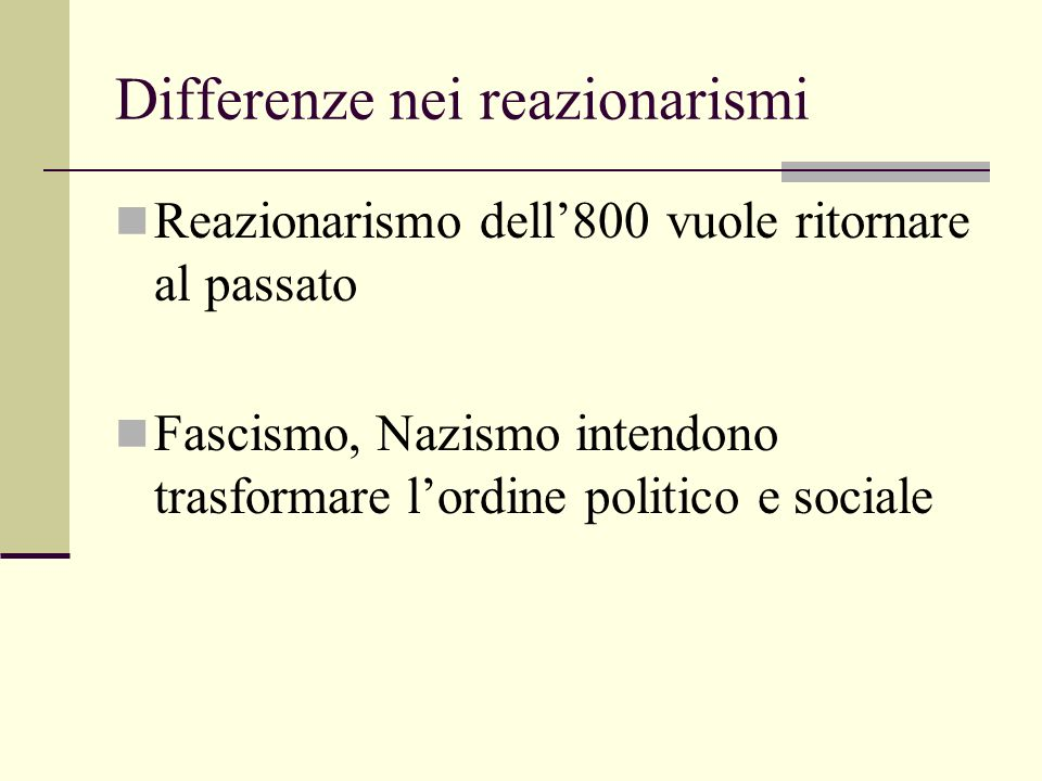 Differenze nei reazionarismi
