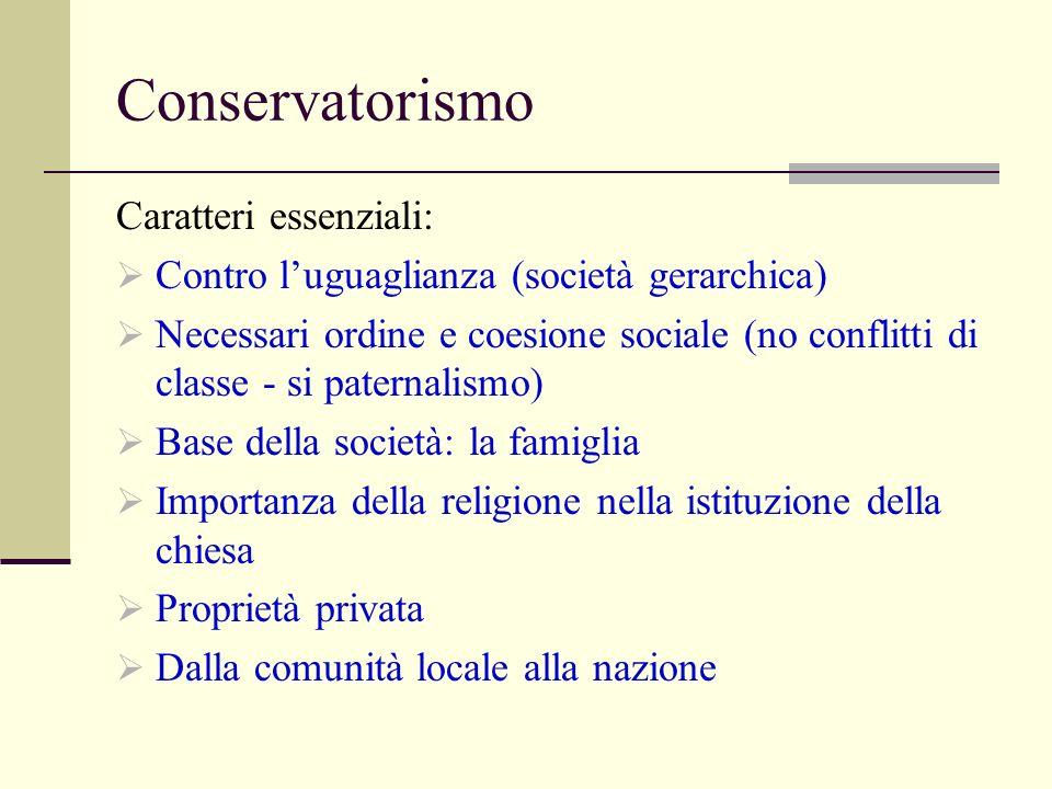 Conservatorismo Caratteri essenziali: