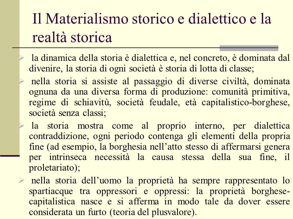 Il Materialismo storico e dialettico e la realtà storica