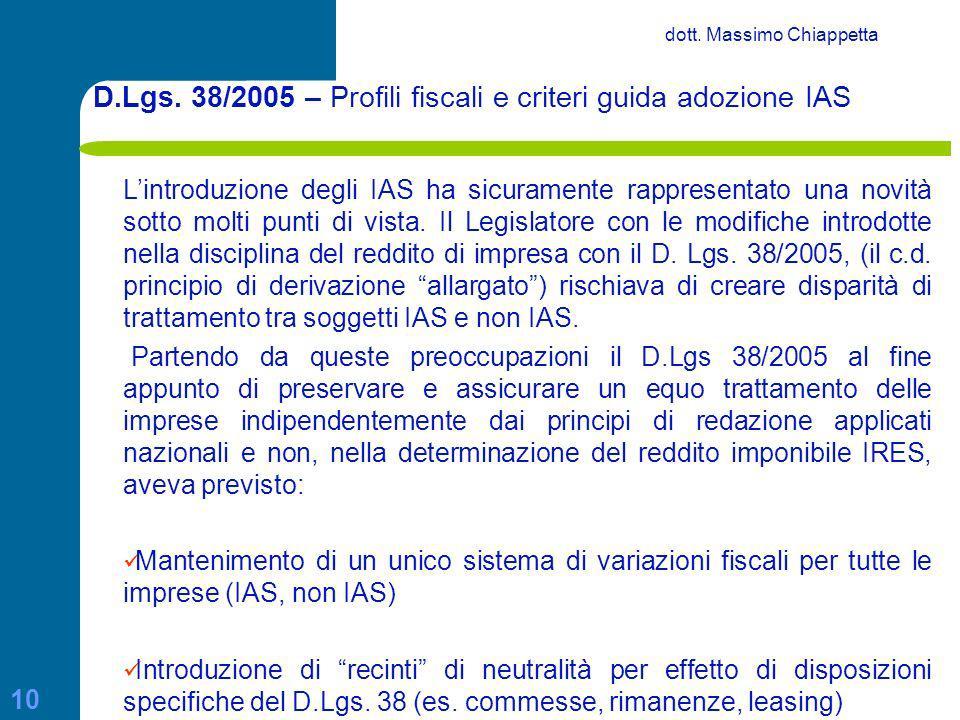 D.Lgs. 38/2005 – Profili fiscali e criteri guida adozione IAS