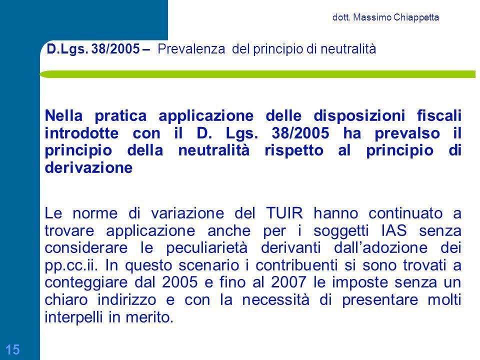 D.Lgs. 38/2005 – Prevalenza del principio di neutralità