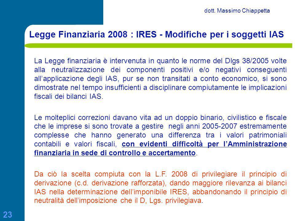 Legge Finanziaria 2008 : IRES - Modifiche per i soggetti IAS
