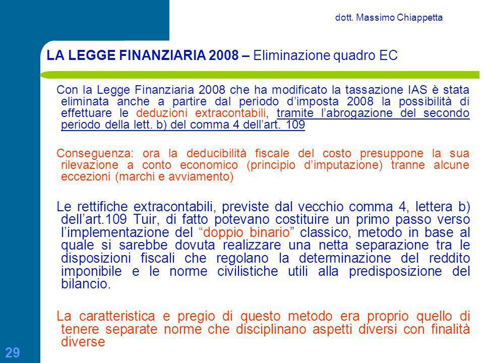 LA LEGGE FINANZIARIA 2008 – Eliminazione quadro EC