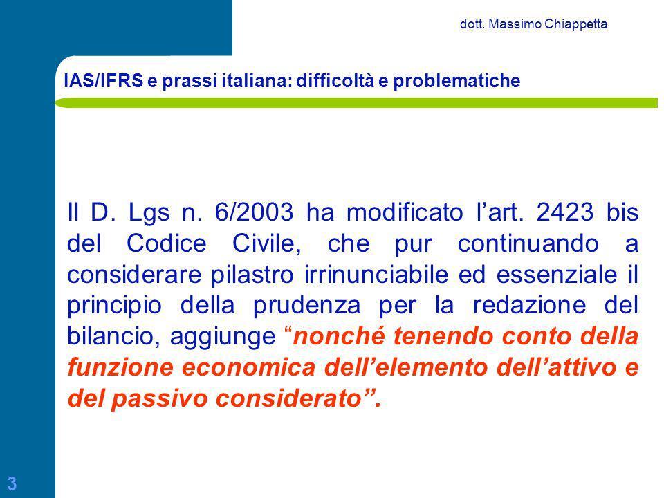 IAS/IFRS e prassi italiana: difficoltà e problematiche