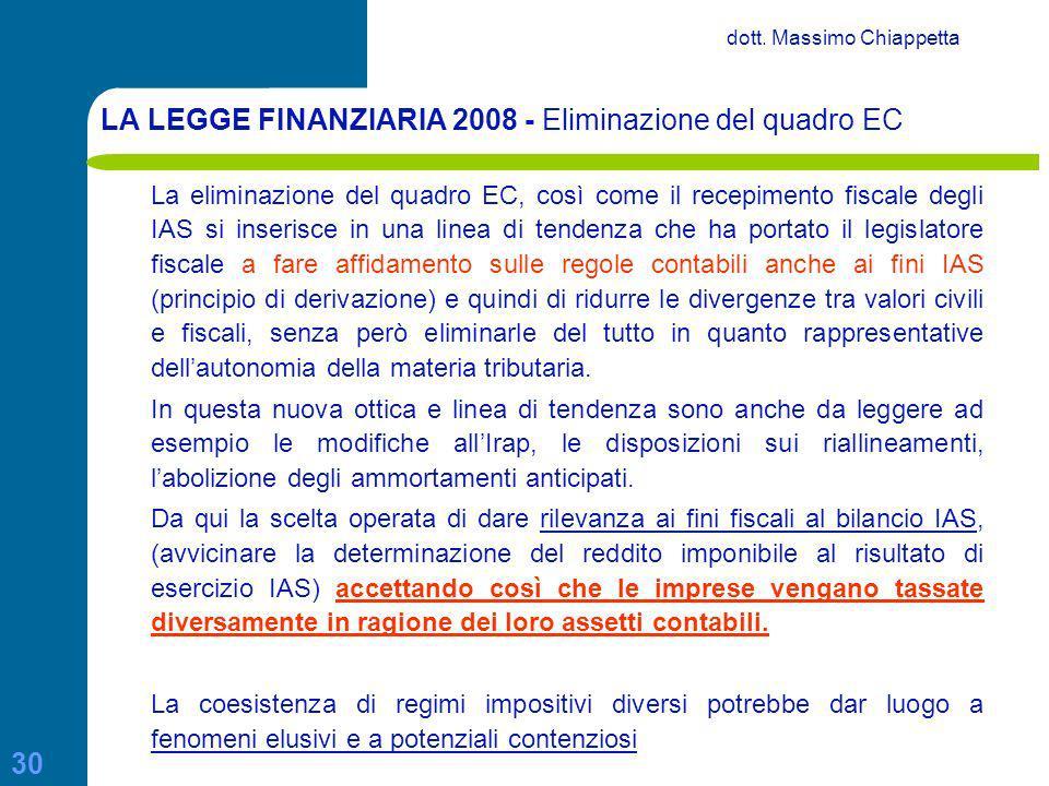 LA LEGGE FINANZIARIA 2008 - Eliminazione del quadro EC