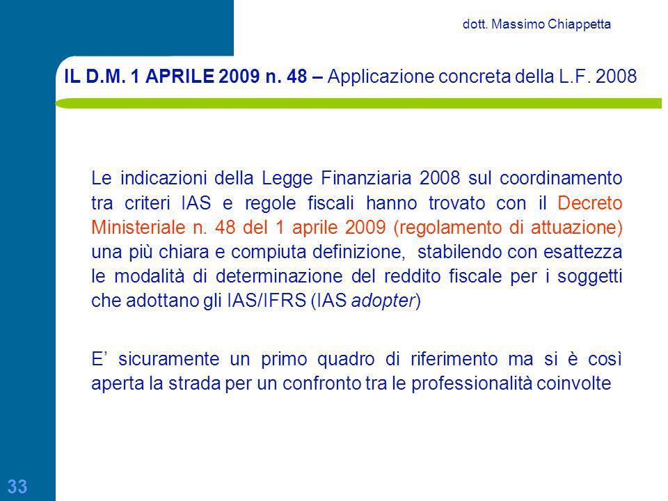 IL D.M. 1 APRILE 2009 n. 48 – Applicazione concreta della L.F. 2008