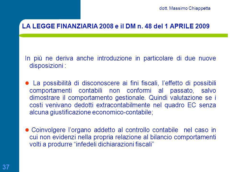 LA LEGGE FINANZIARIA 2008 e il DM n. 48 del 1 APRILE 2009