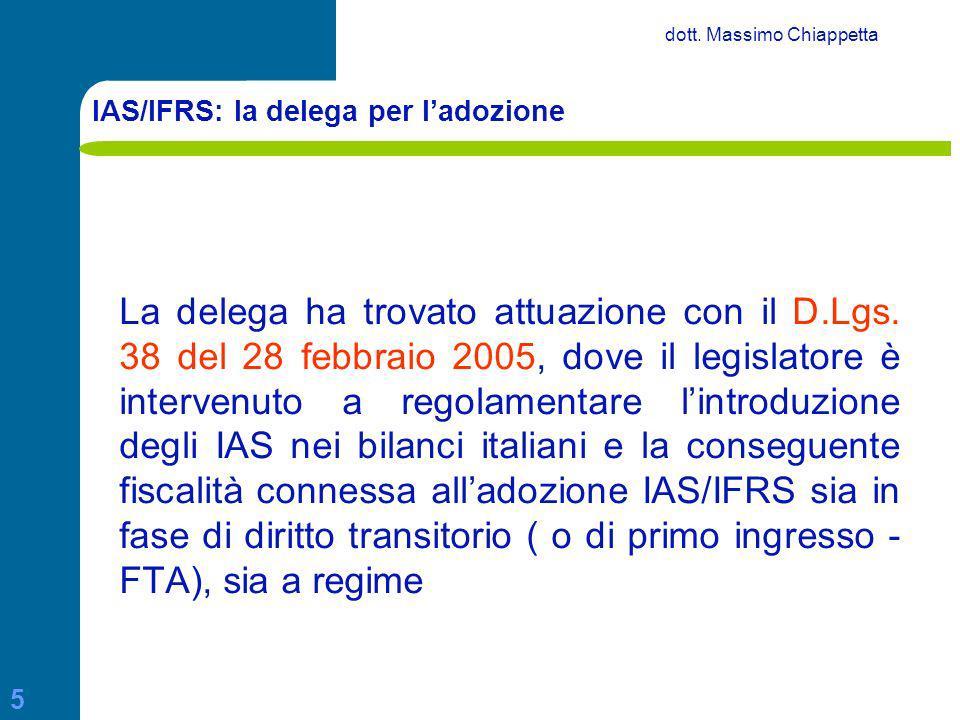 IAS/IFRS: la delega per l'adozione