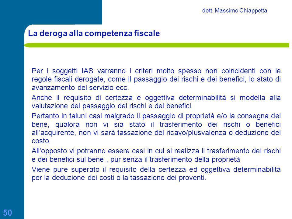 La deroga alla competenza fiscale